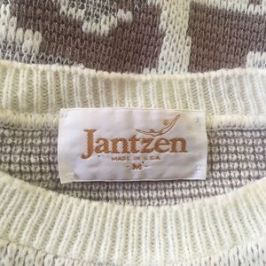 Vintage Sweaters - 80s Vintage Muted Color Scenic Sweater Jantzen